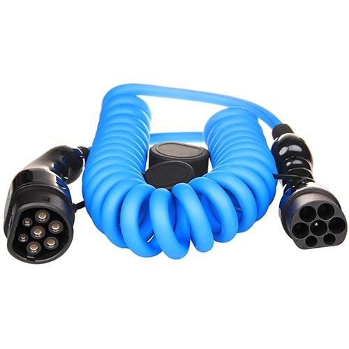 1-EV Type2 -> Type2 spiral (3x16A) EV kabel